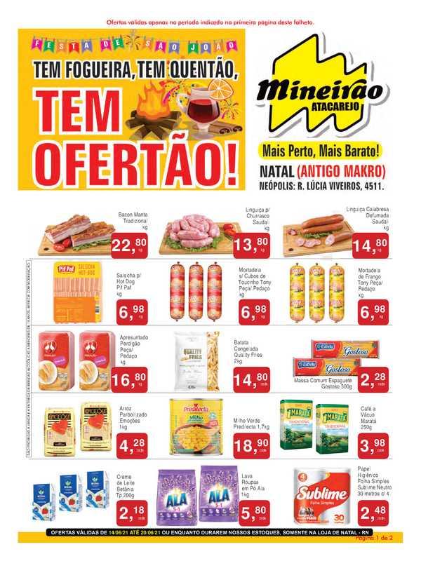 Mineirão Atacarejo - encarte válido de 14.06.2021 até 20.06.2021 - página 1.
