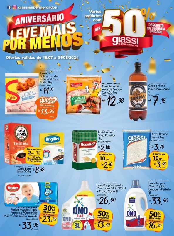 Giassi supermercados - encarte válido de 20.07.2021 até 01.08.2021 - página 1.