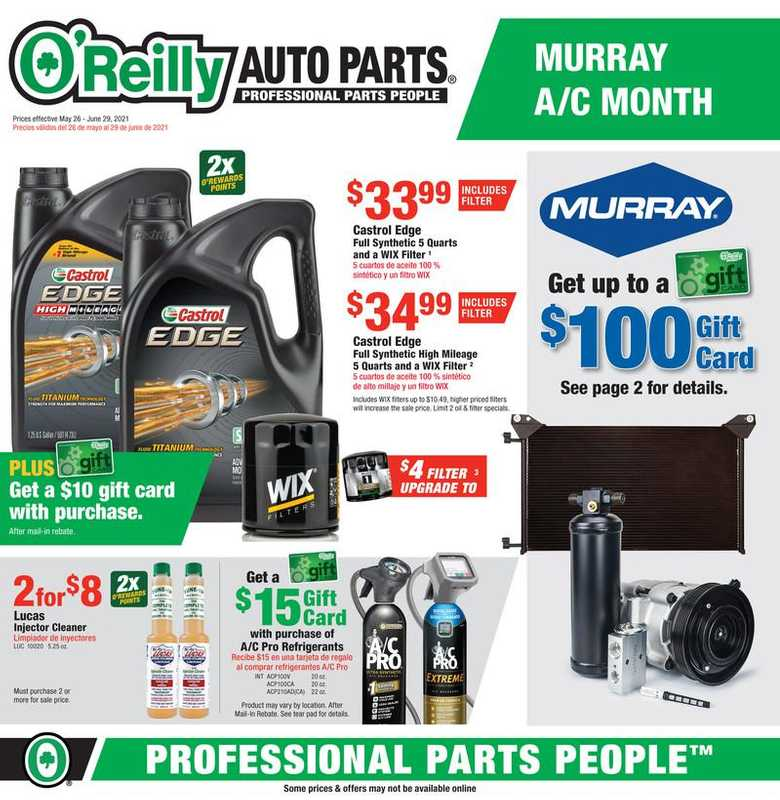 O'reilly - deals are valid from 05/26/21 to 06/29/21 - page 1.
