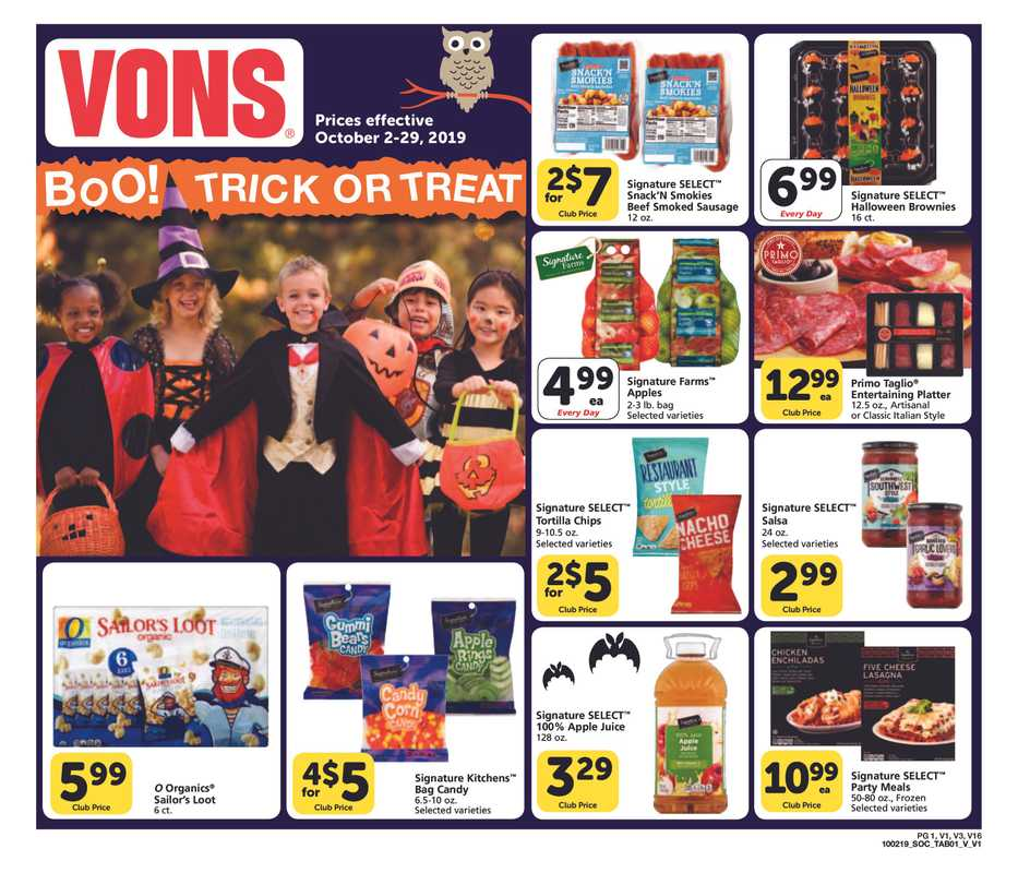 Vons - deals are valid from 10/02/19 to 10/29/19 - page 1.