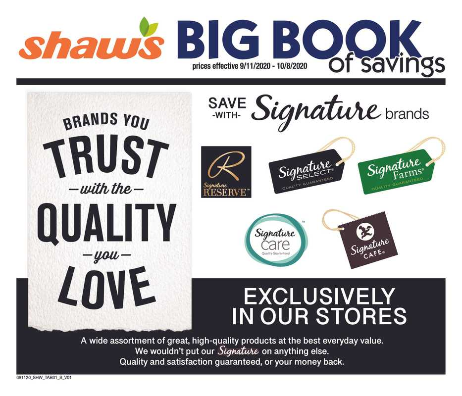 Shaw's - deals are valid from 09/11/20 to 10/08/20 - page 1.