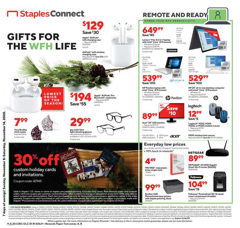Staples - deals are valid from 11/08/20 to 11/14/20 - page 1.