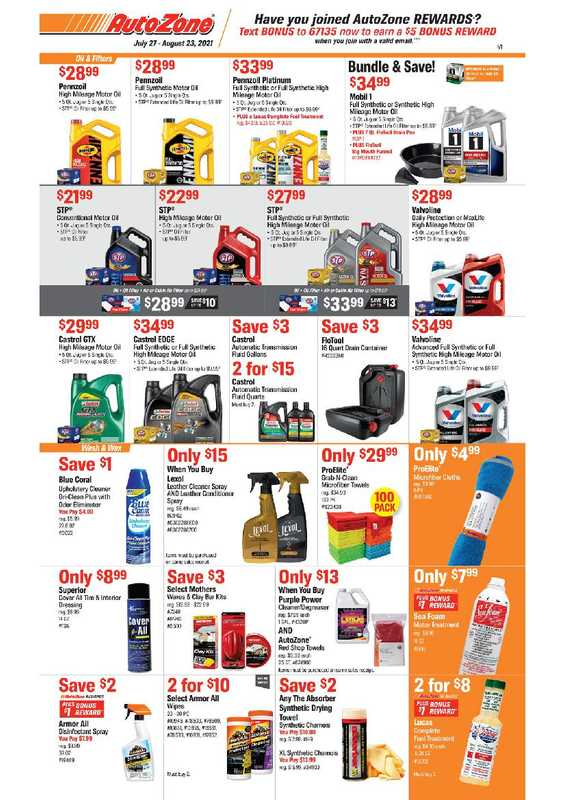 AutoZone - deals are valid from 07/27/21 to 08/23/21 - page 1.