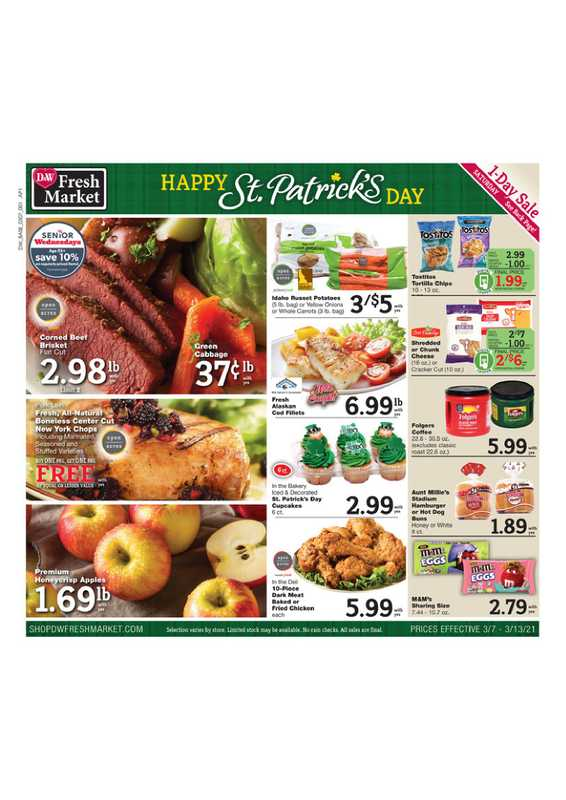 D&W Fresh Market - deals are valid from 03/07/21 to 03/13/21 - page 1.