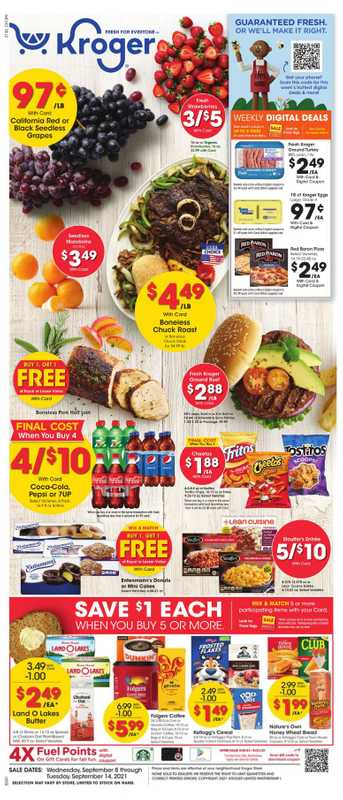 Kroger - deals are valid from 09/08/21 to 09/14/21 - page 1.