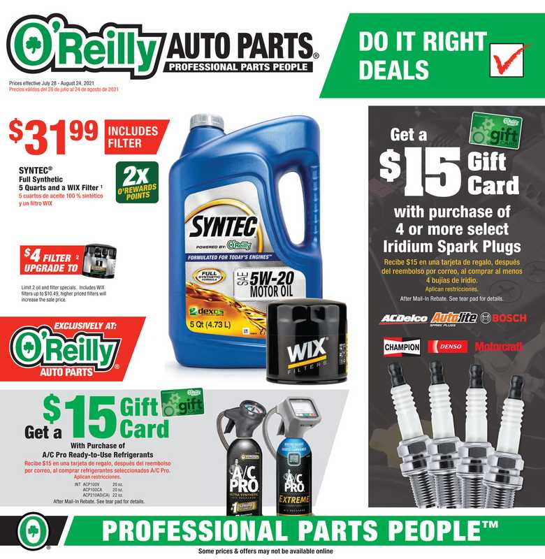 O'reilly - deals are valid from 07/28/21 to 08/24/21 - page 1.
