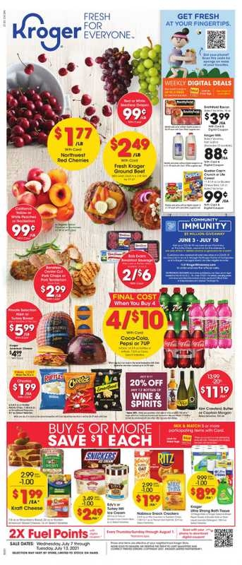 Kroger - deals are valid from 07/07/21 to 07/13/21 - page 1.