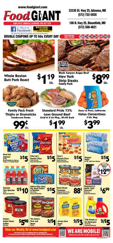 Food Giant - deals are valid from 03/17/21 to 03/23/21 - page 1.