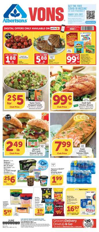 Vons - deals are valid from 06/02/21 to 06/08/21 - page 1.
