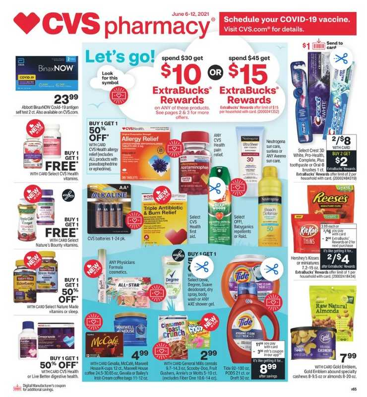 CVS - deals are valid from 06/06/21 to 06/12/21 - page 1.