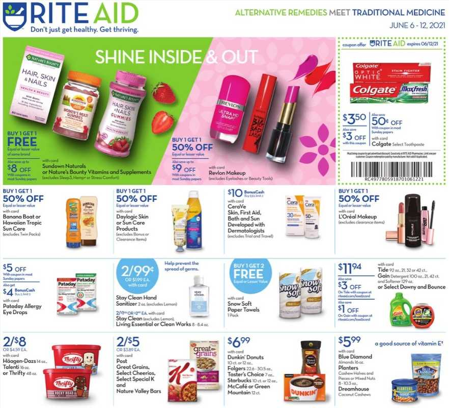 Rite Aid - deals are valid from 06/06/21 to 06/12/21 - page 1.