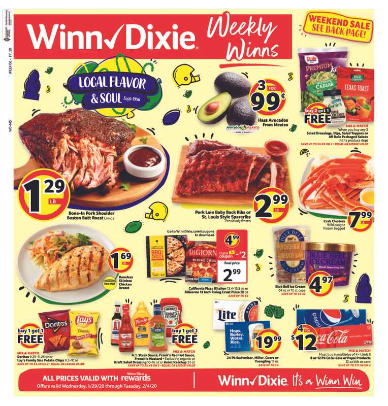 Winn Dixie - deals are valid from 01/29/20 to 02/04/20 - page 1.