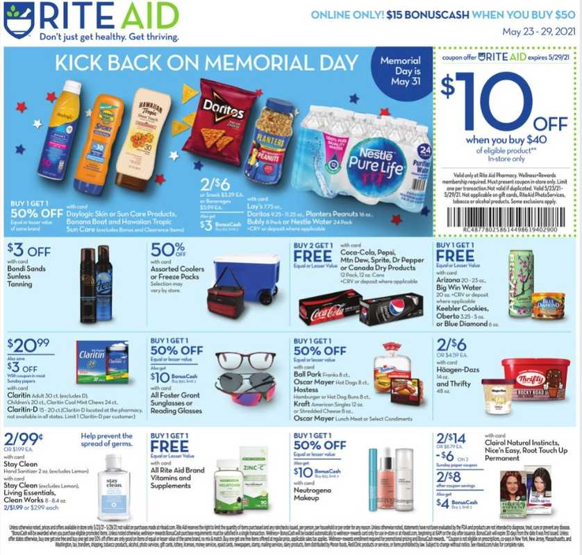 Rite Aid - deals are valid from 05/23/21 to 05/29/21 - page 1.