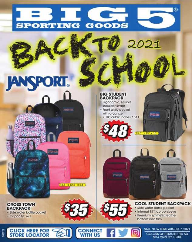 Big 5 Sporting Goods - deals are valid from 08/01/21 to 08/07/21 - page 1.