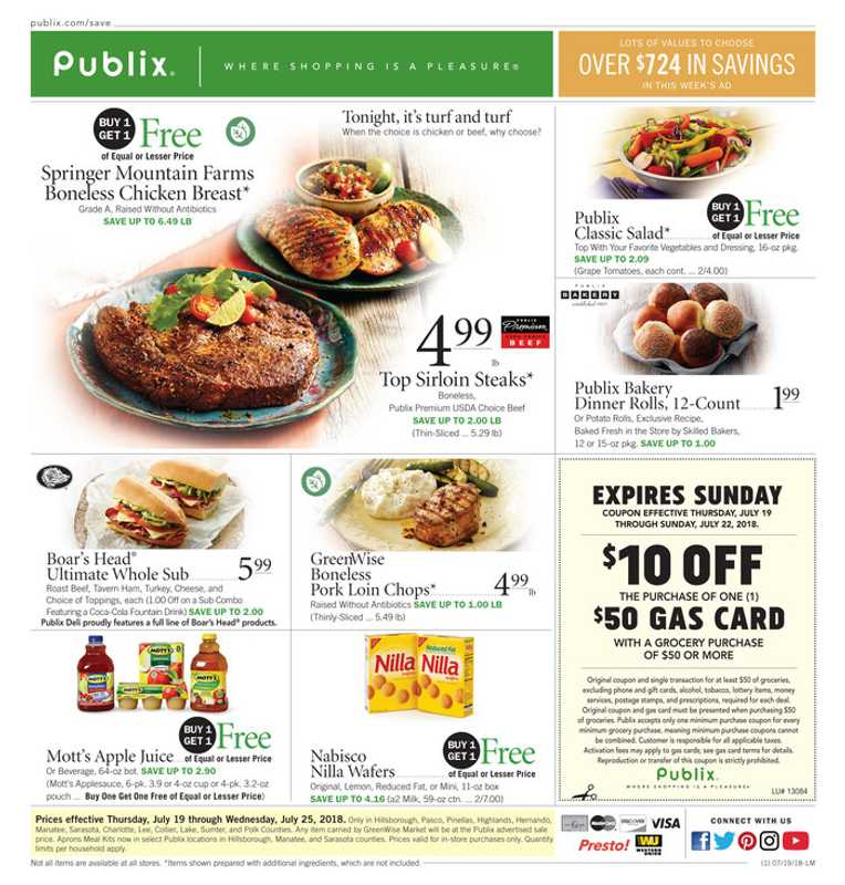 Publix - deals are valid from 07/19/18 to 07/25/18 - page 1.