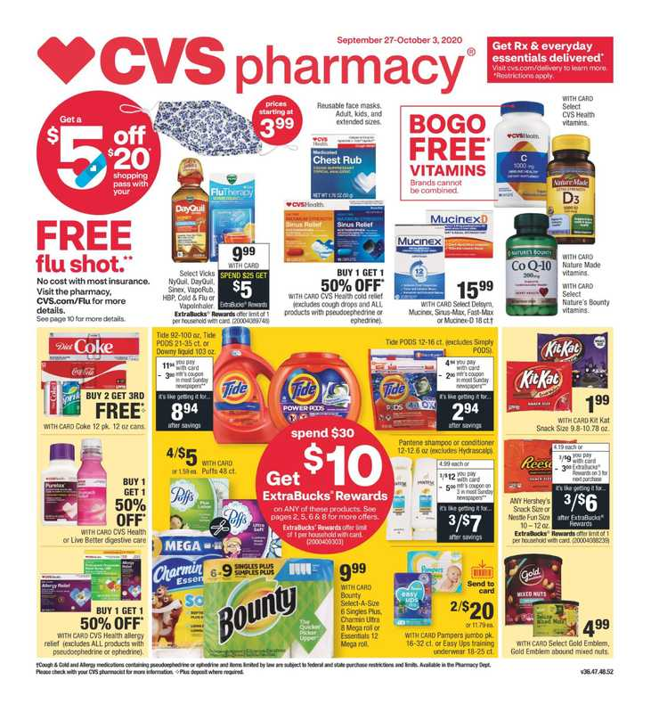 CVS - deals are valid from 09/27/20 to 10/03/20 - page 1.