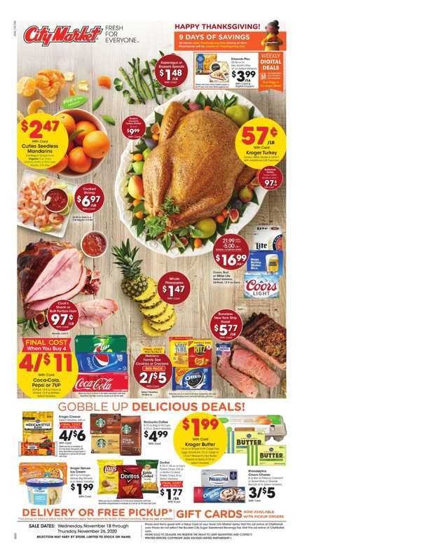 City Market - deals are valid from 11/18/20 to 11/26/20 - page 1.