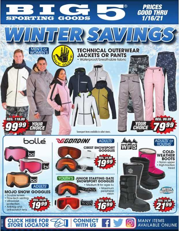 Big 5 Sporting Goods - deals are valid from 01/10/21 to 01/17/21 - page 1.