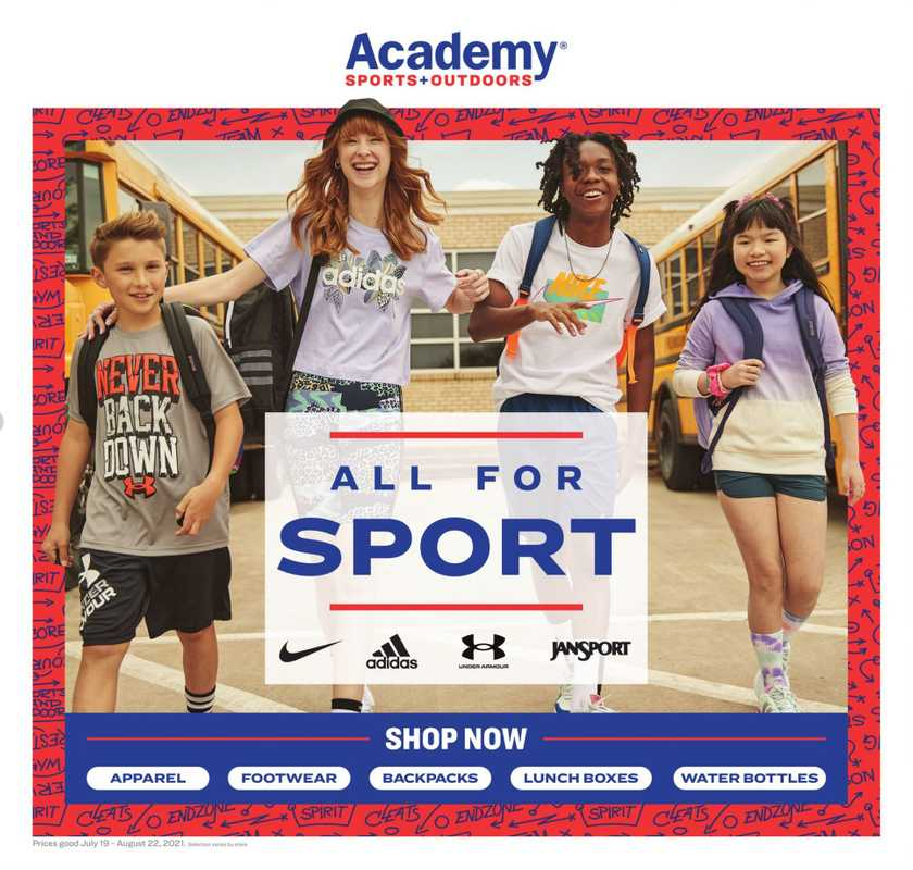 Academy Sports + Outdoors - deals are valid from 07/18/21 to 08/22/21 - page 1.
