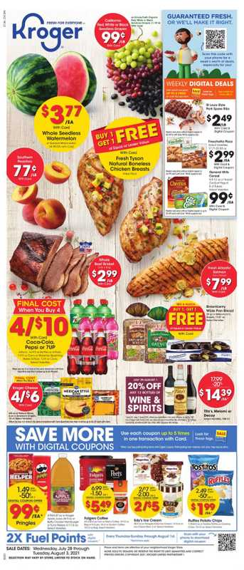 Kroger - deals are valid from 07/28/21 to 09/03/21 - page 1.