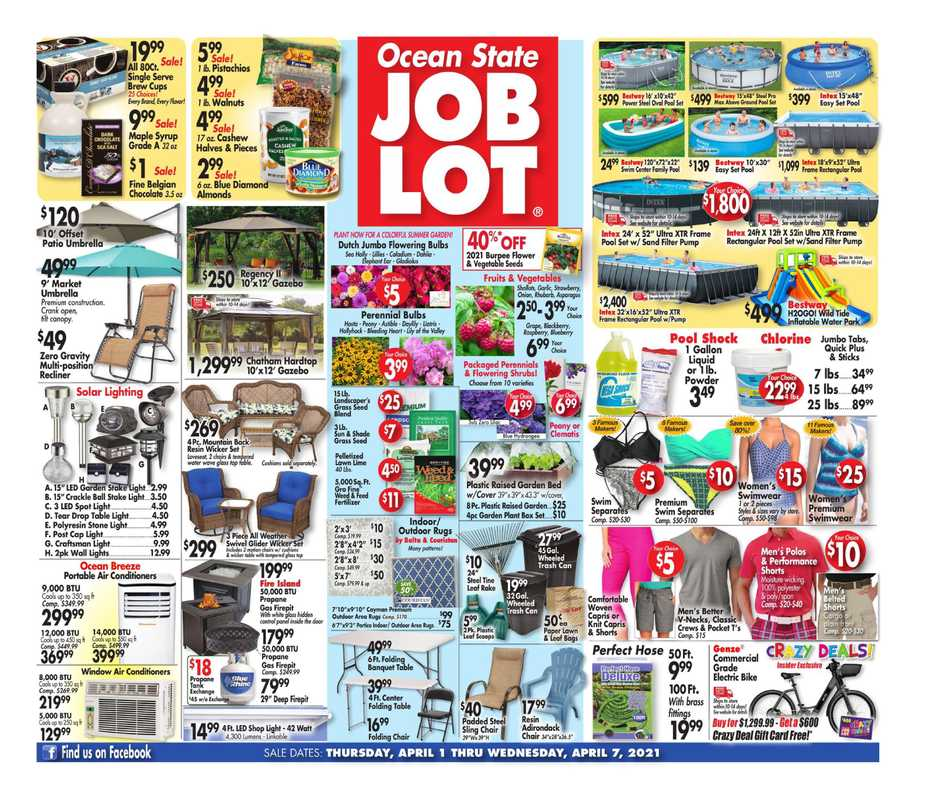 Ocean State Job Lot - deals are valid from 04/01/21 to 04/07/21 - page 1.