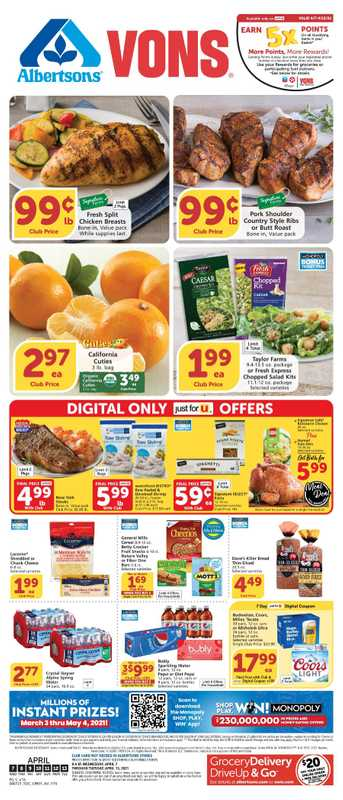 Vons - deals are valid from 04/07/21 to 04/13/21 - page 1.