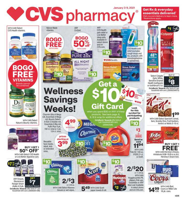 CVS - deals are valid from 01/03/21 to 01/09/21 - page 1.