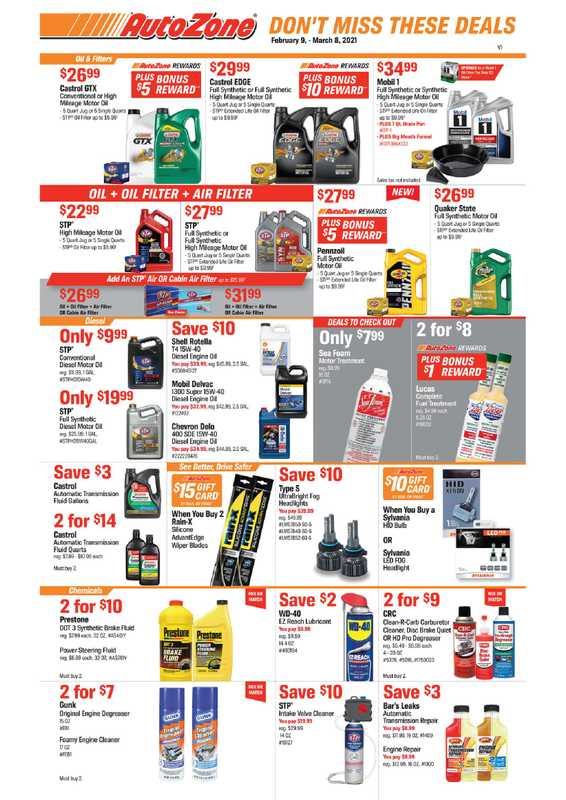 AutoZone - deals are valid from 02/09/21 to 03/08/21 - page 1.