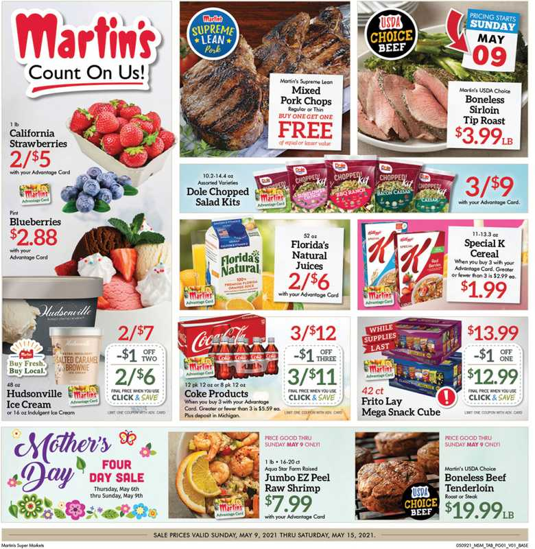Martin's Supermarkets - deals are valid from 05/09/21 to 05/15/21 - page 1.
