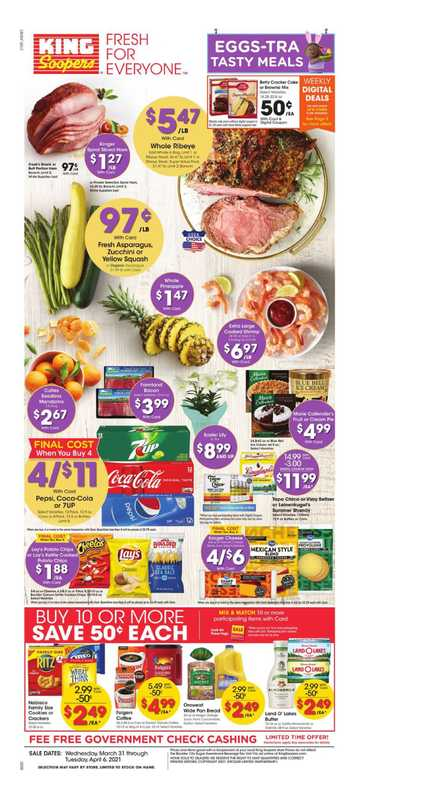 King Soopers - deals are valid from 03/31/21 to 04/06/21 - page 1.