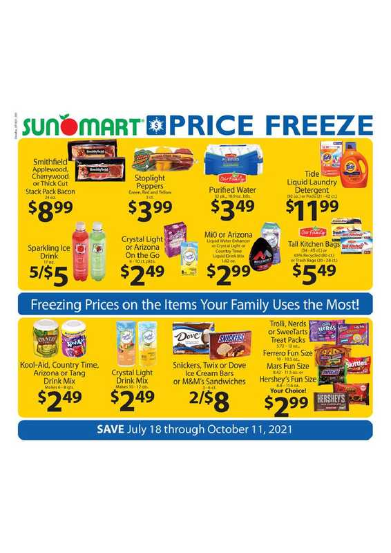 Sun Mart Foods - deals are valid from 07/18/21 to 10/11/21 - page 1.