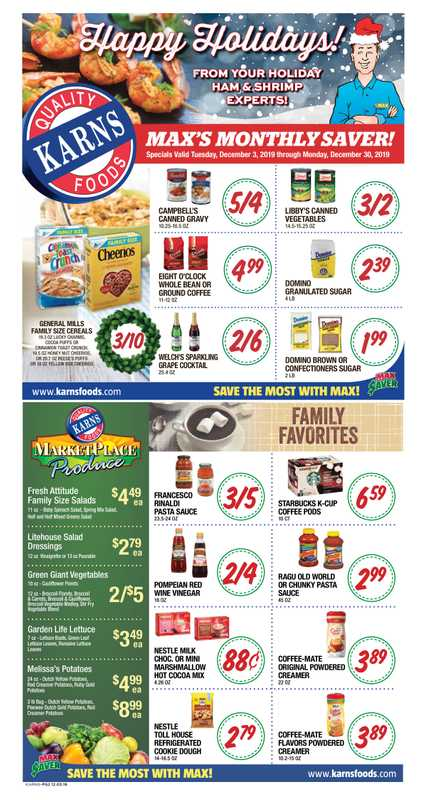 Karnsfoods - deals are valid from 12/03/19 to 12/30/19 - page 1.