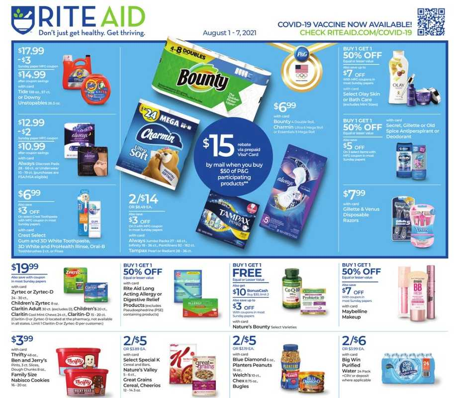 Rite Aid - deals are valid from 08/01/21 to 08/07/21 - page 1.