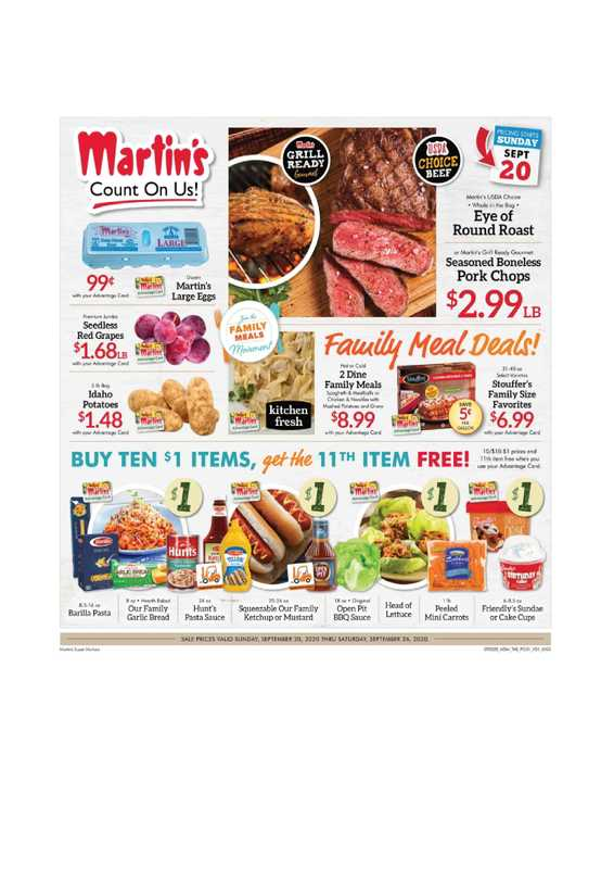 Martin's - deals are valid from 09/20/20 to 09/26/20 - page 1.