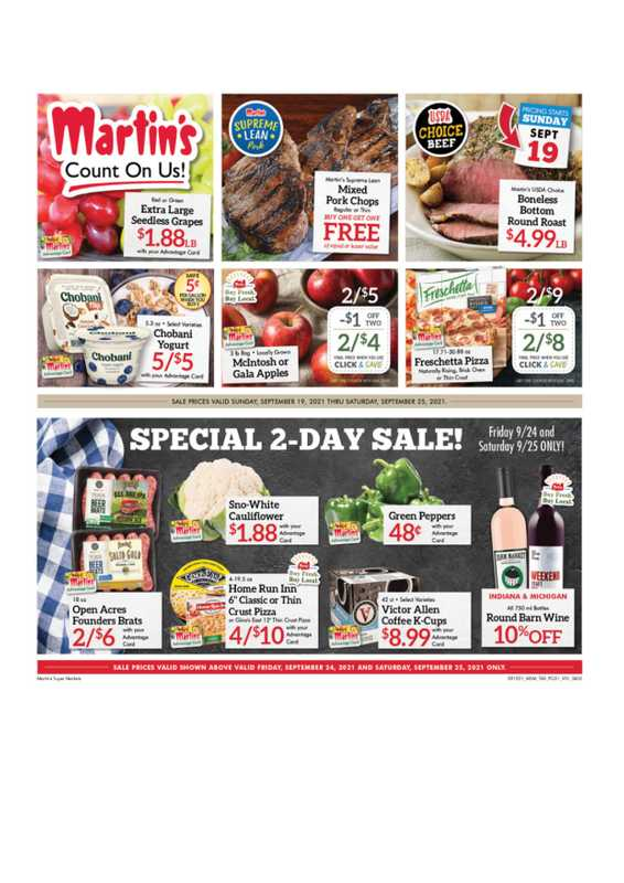 Martin's Supermarkets - deals are valid from 09/19/21 to 09/25/21 - page 1.