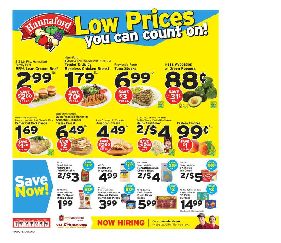 Hannaford - deals are valid from 08/01/21 to 08/07/21 - page 1.