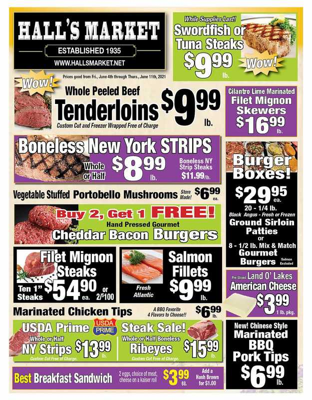 Hall's Market - deals are valid from 06/04/21 to 06/11/21 - page 1.