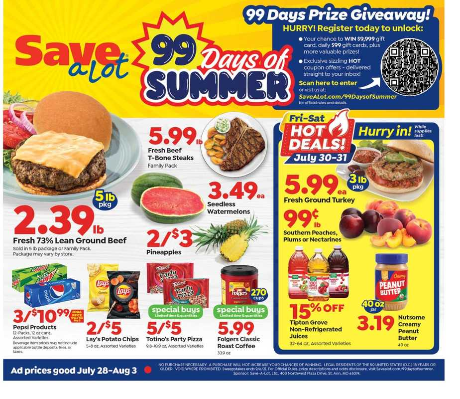 Save-A-Lot - deals are valid from 07/28/21 to 08/03/21 - page 1.