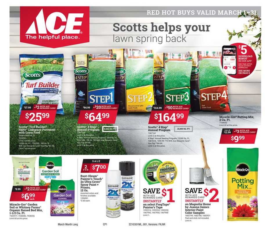 ACE Hardware - deals are valid from 03/01/21 to 03/31/21 - page 1.