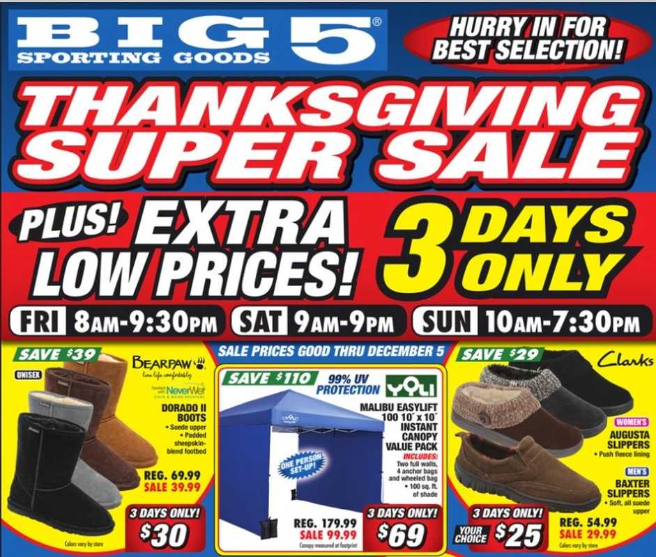 Big 5 Sporting Goods - deals are valid from 11/26/20 to 11/30/20 - page 1.