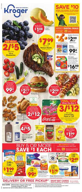 Kroger - deals are valid from 08/04/21 to 08/10/21 - page 1.