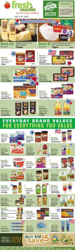 Fresh Market Stores - deals are valid from 07/01/21 to 07/31/21 - page 1.