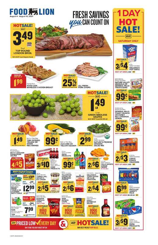Food Lion - deals are valid from 08/04/21 to 08/10/21 - page 1.