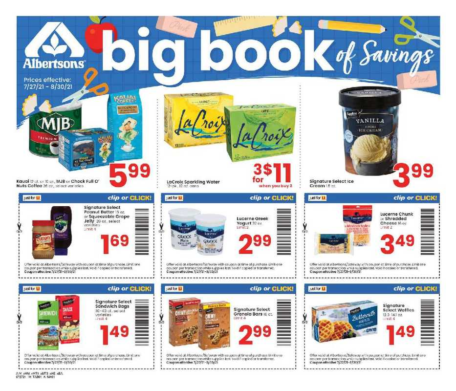 Albertsons - deals are valid from 07/27/21 to 08/30/21 - page 1.