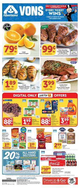 Vons - deals are valid from 04/21/21 to 04/27/21 - page 1.