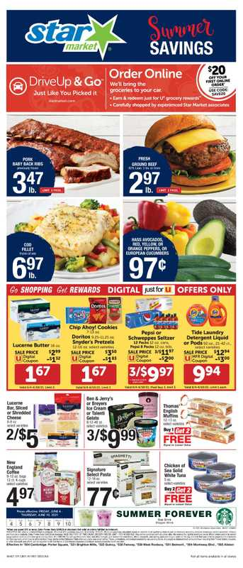 Star Market - deals are valid from 06/04/21 to 06/10/21 - page 1.