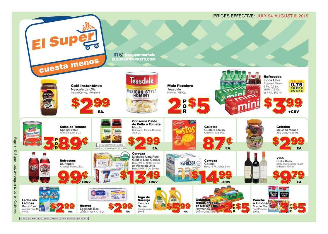 El Super - deals are valid from 07/24/19 to 08/06/19 - page 1.