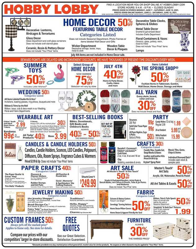 Hobby Lobby - deals are valid from 06/06/21 to 06/12/21 - page 1.