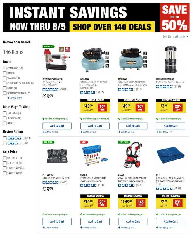Harbor Freight Tools - deals are valid from 07/23/21 to 08/05/21 - page 1.