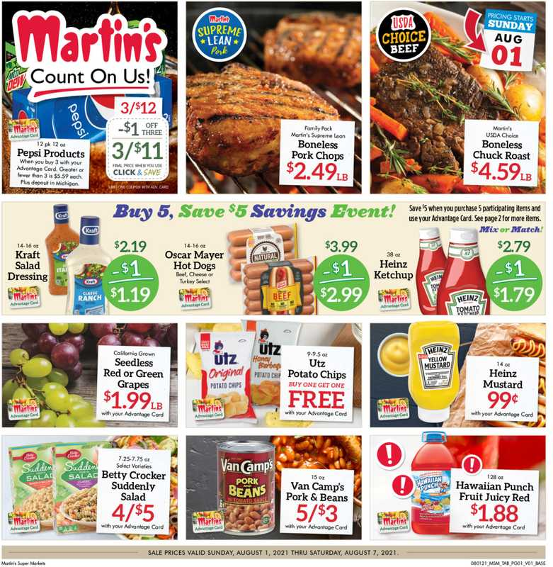 Martin's Supermarkets - deals are valid from 08/01/21 to 08/07/21 - page 1.